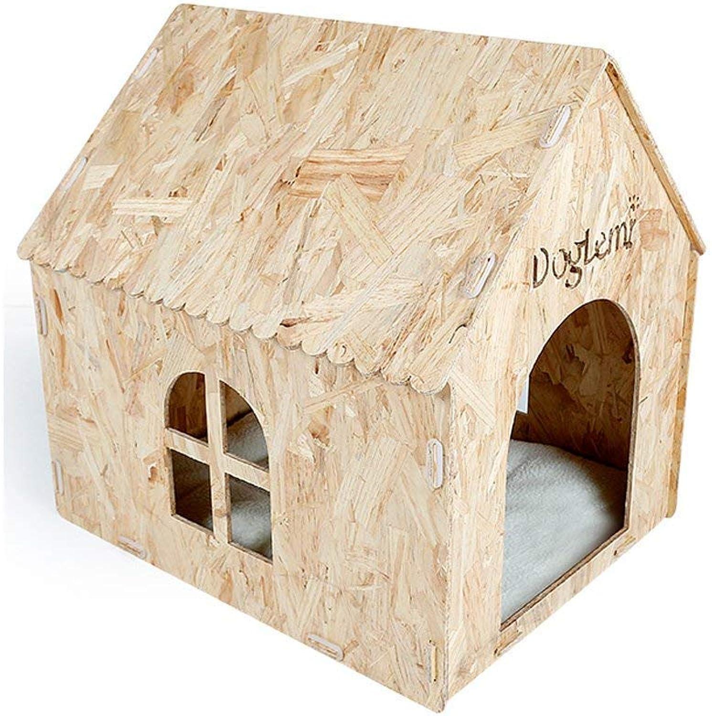 CHONGWFS Ecofriendly Fashion Dog House Four Seasons Moistureproof Pet Dog House Pet Supplies Pine Wood Outdoor Cat Litter