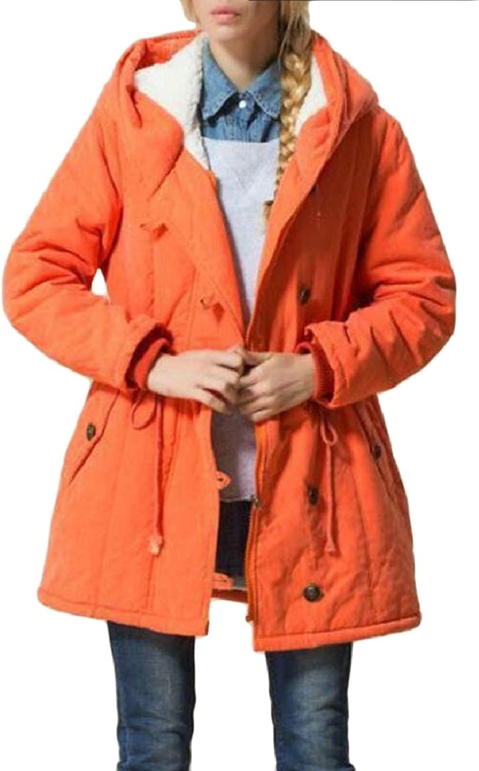 LEISHOP Women Winter Warm Thicken Cotton Loose Fit Mid Long Down Jacket Coat