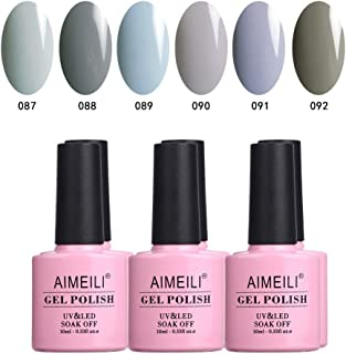 AIMEILI Soak Off UV LED Grey Range Gel Nail Polish Multicolour/Mix Colour/Combo Colour Set Of 6pcs X 10ml - Kit 25