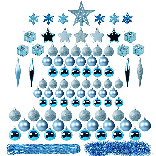 Lulu Home Assorted Christmas Tree Ornaments Set, 90 Pieces Including Balls Shuttle Five-Pointed Star Snowflakes Tree Top Star Mini Gift Boxes Tinsel Garland Bead Chain
