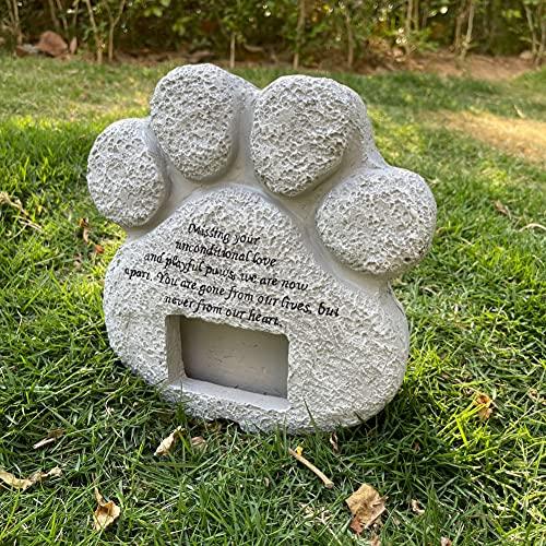 snowvirtuos Lápida para perro y gato, piedra conmemorativa con marco de fotos, mascotas, conmemorativa, de resina, con forma de huella de animal