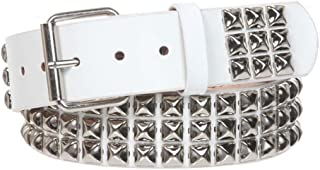 """1 3/4"""" Snap On Three Row Punk Rock Star Metal Silver Studded Solid Leather Belt"""