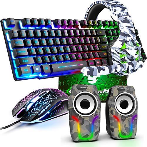 kabelgebundene Gaming-Tastatur Maus-Set, Regenbogen-Hintergrundbeleuchtung USB-Gaming-Tastatur+2400DPI optische Regenbogen-LED-Gaming-Maus+Gaming-Headset+RGB-Lautsprecher+Mauspads für Computer/PC