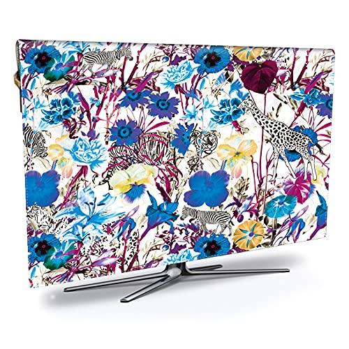 LANCYG TV Cubierta Protectora, Monitor Polvo Funda Fresca Flor HD TV Impresa y Cubierta Impermeable, tamaño Grande 21 lnches a 70 lnches (Color : Dark Grey, Specification : 55inch)