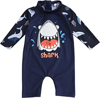 Toddler Kids Baby Boy Swimsuit Short Sleeve Bathing Suit Shark Pattern One Piece Swimwear Summer