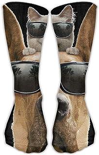 靴下 抗菌防臭 ソックス ユニセックスクラシック靴下犬と猫サングラスアスレチックストッキング