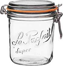 Le Parfait Super Terrine - 750ml French Glass Canning Jar w/Straight Body, Airtight Rubber Seal & Glass Lid, 24oz/Pint & H...