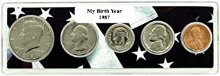 1987-5 Coin Birth Year Set in American Flag Holder Uncirculated