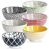 Cereal Bowls Porcelain Bowl Set - 22 Ounce ,Set of 6, Kitchen Ceramic Bowls for Soup, Salad, Pasta,...
