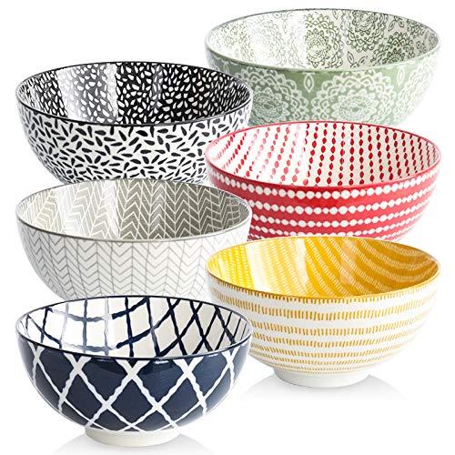 Cereal Bowls Porcelain Bowl Set - 22 Ounce ,Set of 6, Kitchen Ceramic Bowls for Soup, Salad, Pasta, Rice, Ramen ,Dessert, Rice, Noodle, Microwave and Dishwasher Safe, Stackable