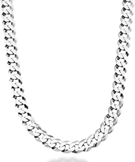 Solid 925 Sterling Silver Italian 9mm Solid Diamond-Cut Cuban Link Curb Chain Necklace for Men 18, 20,22, 24, 26, 30 Inch Made in Italy