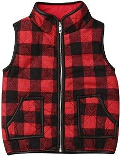 Baby Toddler Boy Girl Buffalo Plaid Quilted Vest Puffer Lightweight Gilet Jacket Zipper Waistcoat 1-6T Outwear Clothes
