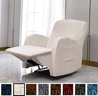 Argstar Velvet Stylish Recliner Slip Cover, Anti Slip Stretch Couch Cover for Living Room, Cream White