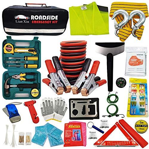 Roadside Assistance Emergency Kit - Multipurpose Emergency Pack Car Premium Road Kit Essentials Jumper Cables Set (8 Foot) Automotive Roadside Assistance...