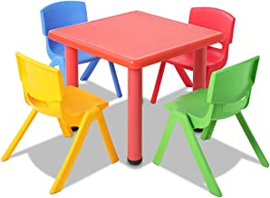 Kids Table and Chair Set Children Plastic Furniture Play Outdoor Red 5PC