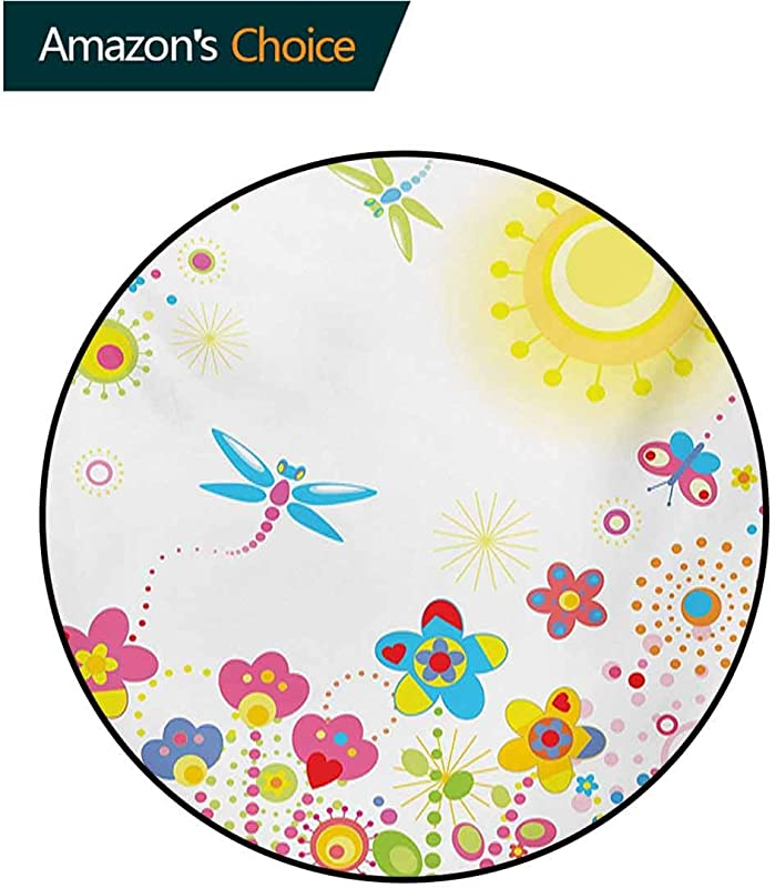 RUGSMAT Dragonfly Modern Washable Round Bath Mat Summer Themed Floral Backdrop With Sun Rays Colorful Dandelions Happiness Graphic Non Slip Bathroom Soft Floor Mat Home Decor Diameter 47 Inch