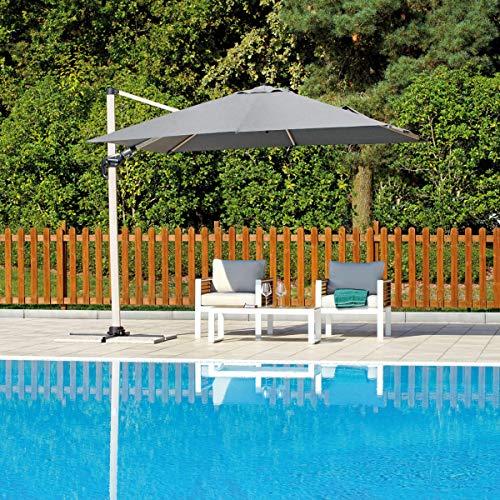 Greenwood Ombrellone palo Laterale 3×3 Basculante inclinabile con maniglione Alluminio Wooden Look E5048