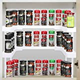 Spice Shelf for Kitchen, Expandable Seasoning Organizer for Cabinets, Stackable Cabinet Shelves, Spice Rack Tiered Organizer Shelf for Cupboard Pantry Medicine Storage