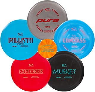 Latitude 64 Retro Disc Golf Starter Set | Frisbee Golf Set | Explorer Fairway Driver | Ballista Pro Distance Driver | Musk...