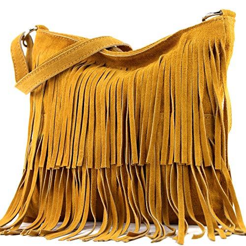 modamoda de - T125 - ital Schultertasche Fransen Wildleder, Farbe:Curcuma
