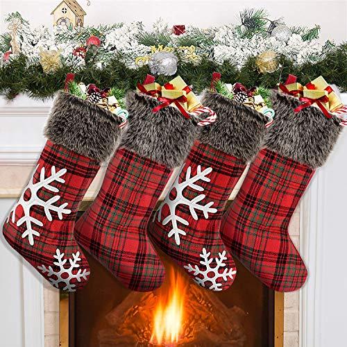 Tacobear 4 Pezzi Calza di Natale Decorazioni Natalizie con Sacchetti Regalo Fiocco di Neve Rosso Albero di Natale Decorazioni Ornamenti Natalizie Addobbi Festa Natale per Bambini Bambina