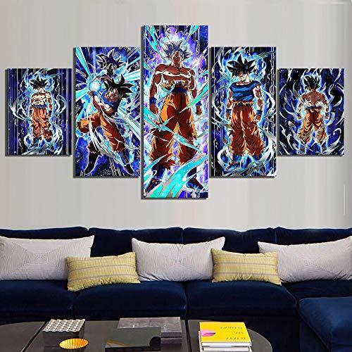 yiyitop Cuadro en Lienzo impresión Arte de Pared Imagen Modular 5 Panel Goku Son Ultra Instinto póster de Videojuego