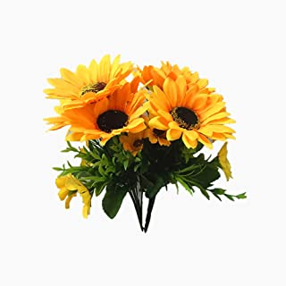 Ieoyoubei 2 PCS Bouquet of Artificial Silk Flower Sunflowers12 Bouquet and Green Leaf for Home Decoration Bridal Wedding Festival Decoration Small Flower (Yellow-Orange)