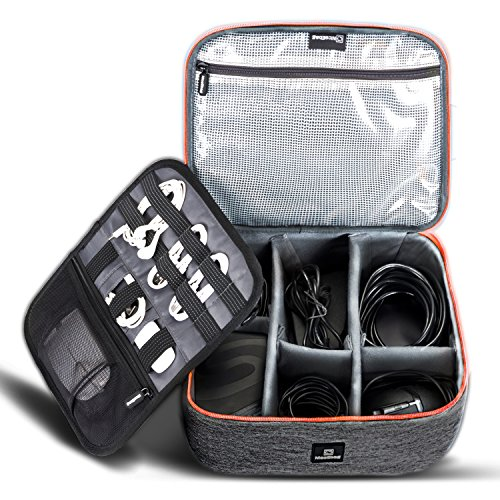 Cable Organizer Travel Bag,Electronics Accessories Organizer,Electronics Organizer Travel Bag and Travel Electronic Accessories Storage Bag for Cables,Phone,Power Bank, Mouse,iPad - Orange