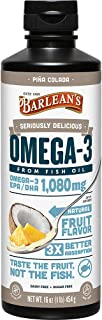 Barlean's Seriously Delicious Omega-3 Fish Oil, Piña Colada, 16-oz