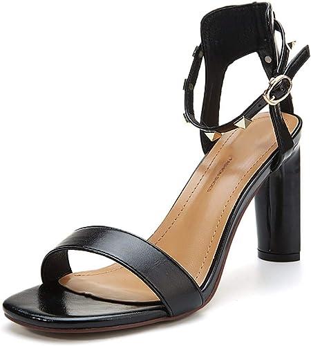 HBDLH Chaussures pour Femmes Talons Hauts Les Filles Les Talons Boucles des Rivets des Orteils Creusés De Chaussures.
