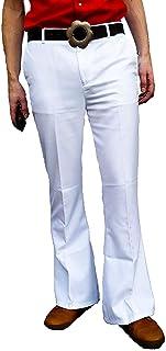Fuzzdandy Bianco Uomo Bell Bottoms Flares Pantaloni Svasato Anni '60 Anni 70 Disco Hippie Pantaloni