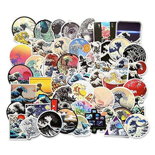 DONGJI Ukiyo-e Ocean Wave Art ins Sticker Big Wave Wash Sand Personalizado Cuenta de Mano decoración Pegatina Cuaderno 50 unids