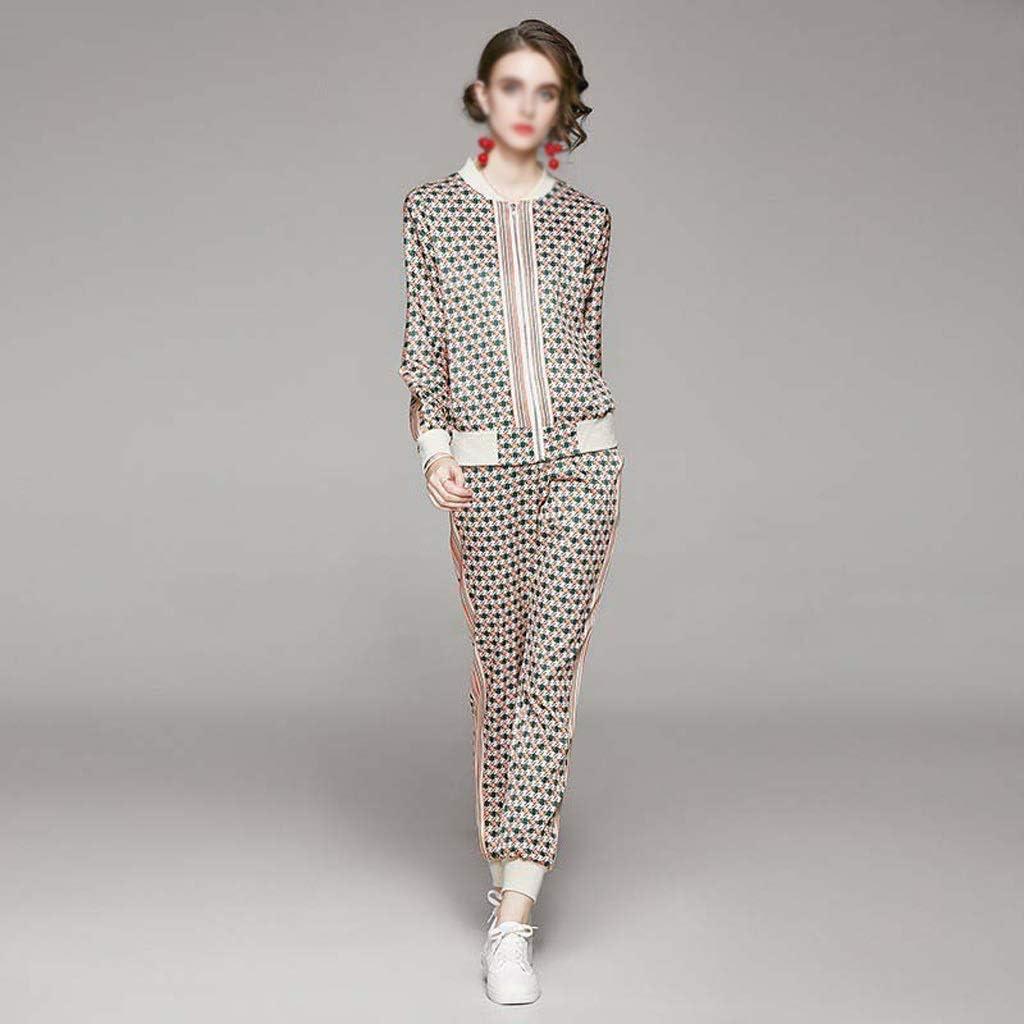 YUTRD ZCJUX Autumn Fashion Women Print 2 Pieces Sets Long Sleeve Zipped Jacket Tops + Elastic Waist Pocket Pant Suits Autumn Blazer Sets