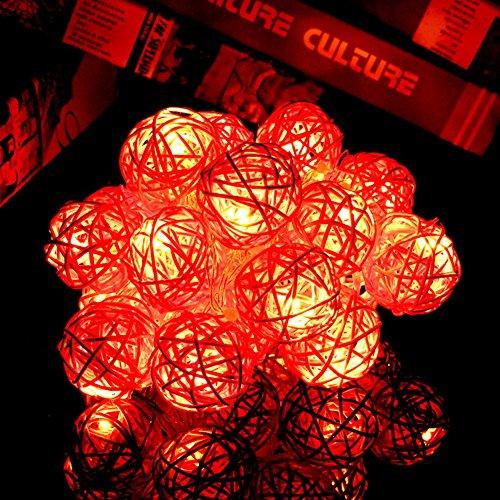 Happyit 3M 20pcs Boule LED Rotin chaîne lumières Lampes à Cordes pour Nouvel an Noël Décorations Fête de Mariage Feuilles de décoration intérieure(Rouge)