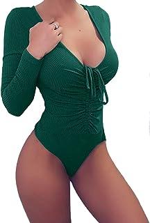 740923f64dcb geluboao Womens Deep V Neck Long Sleeve Bodysuit Drawstring Tight Jumpsuit  Leotard