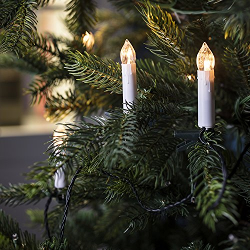 Lights4fun, Inc. 50 Warm White LED Flameless Christmas Candle Indoor String Lights with Tree Clips