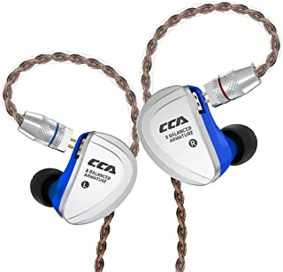 CCA C16 in-Ear Earphones HiFi Wired IEM Headset 8BA Units per Side with Detachable Cable (Blue,No Mic)