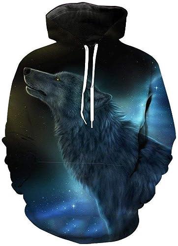 Sweat à Capuche Homme Femme Wolf Sweat à Capuche Imprimé Animal Homme Loup 3D Confortable Marques de Mode Sweat Hip Hop Unisexe Pull à Manches Longues Hiver (Couleur  Turquoise, Taille  L)