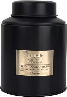 La Jolíe Muse Vela aromatica - Vela perfumada de Vainilla y Tabaco, Vela aromatica Grande, Vela Negro, Regalos para casa, ...