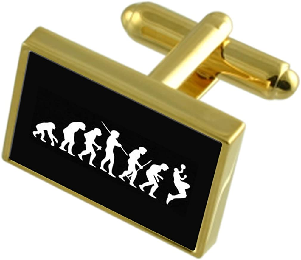 Select Gifts Evolution Ape to Man Basketball Gole-Tone Cufflinks Tie Clip Box Set Engraved Optional