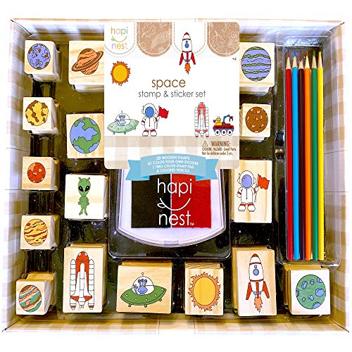 Hapinest Space Stamp and Sticker Activities Arts and Crafts Set for Boys and Girls Ages 4 5 6 7 8 9 10 Years Old