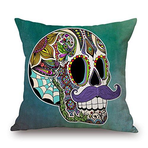 Elliot_yew Funda de cojín con calavera india de alfeñique mexicana y texto 'Day of the Dead', lino y algodón para sofá o silla, forma cuadrada de 45 x 45 cm