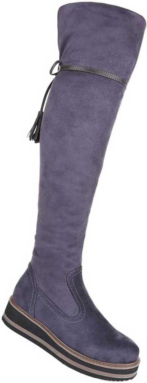 Damen Overknee Stiefel Schuhe Mit Keil Blau Grau Rot 36 37 38 39 40 41  | Realistisch  | Elegant und feierlich  | Internationale Wahl