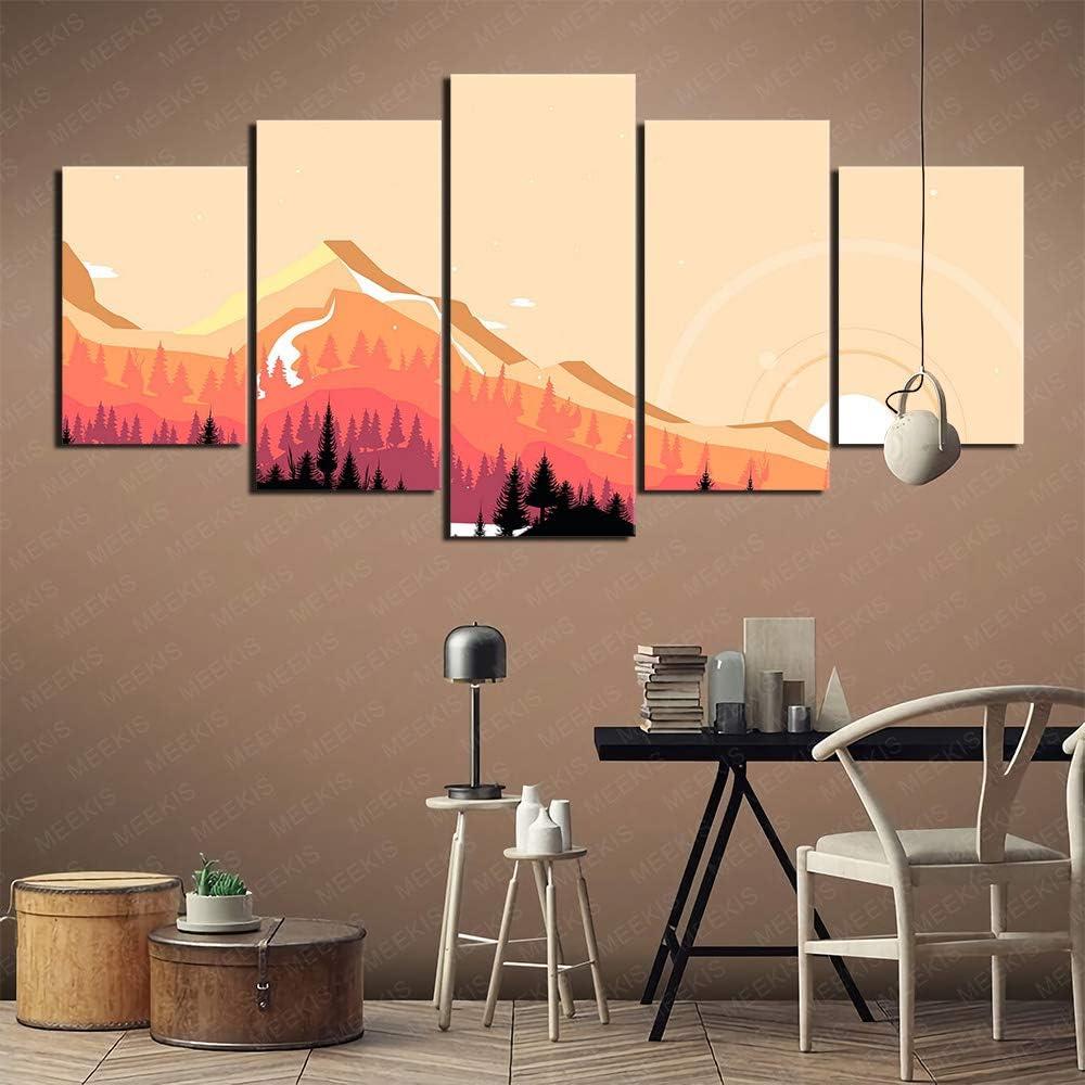 GBxebenYN02 5 St/ück Wulian Leinwand Malerei Wanddekoration Kunst Internet Cafe Hotel 100x50cm Gerahmtes Bild