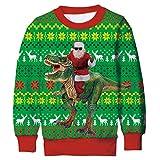 ALISISTER Ragazzi Ragazze Felpa di Natale Personalizzata 3D Dinosauro Santa Stampata Ugly Christmas Pullover Felpe Casual Xmas Clothing Tops per Ragazzi Ragazze L