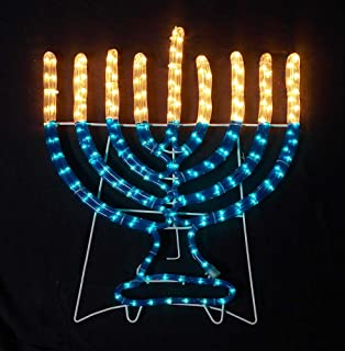 Small Menorah in Blue and White Lighted Hanukkah Rope Decoration for Indoor/Outdoor Use