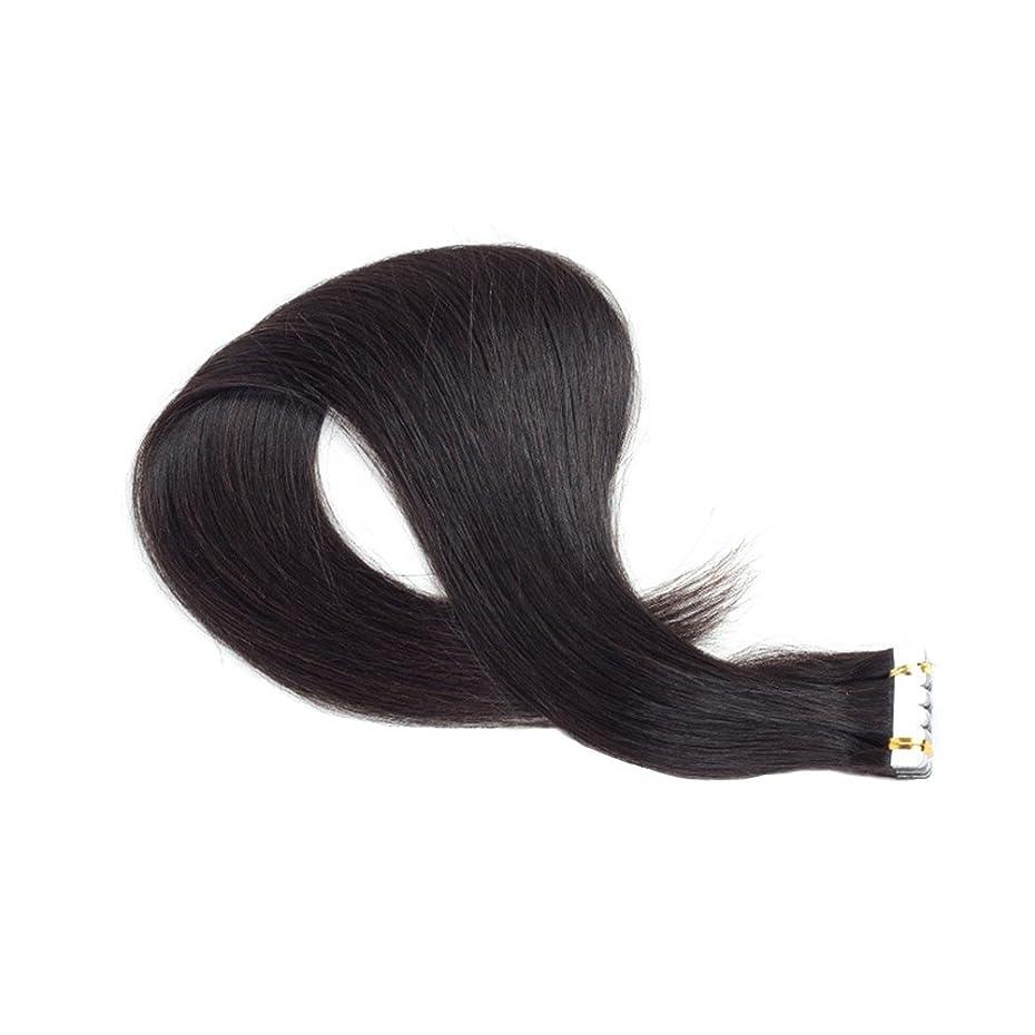 要旨シットコム組み込むHealifty 女性のための本物の人間の毛髪延長絹のようなストレートのヘアーテープ(黒レミーの髪)55CM
