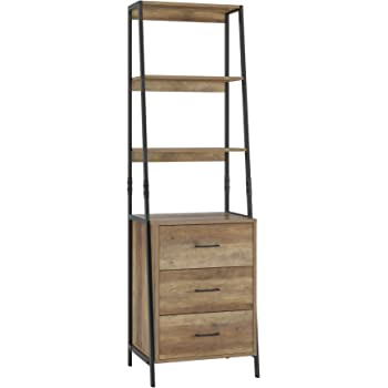 HOMECHO Storage Cabinet, Ladder Shelf with Fabric Drawers, 3 Tier Open Shelves, Accent Ladder Bookcase Bookshelf with Storage Chest, Tall Nightstand Organizer Unit for Home Office, Rustic Brown