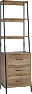HOMECHO Storage Cabinet, Ladder Shelf with Fabric Drawers, 3 Tier Open Shelves, Accent Ladder Bookcase Bookshelf with Stor...