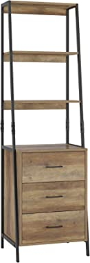 HOMECHO Storage Cabinet, Ladder Shelf with Drawers, 3 Tier Open Shelves, Accent Ladder Bookcase Bookshelf with Fabric Storage Chest, Tall Nightstand Organizer Unit for Home Office, Rustic Brown